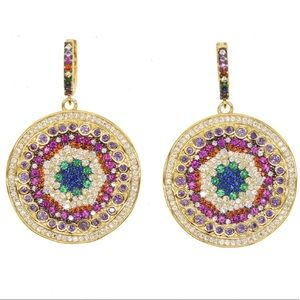 ZD Jewelry - Multi-Colored CZ Explosion Medallion Earring, NWT